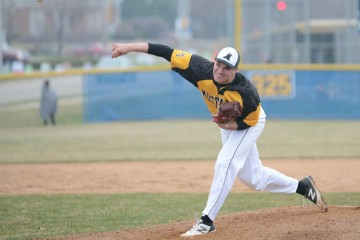 Metea Valley senior Jack Szott delivers during Neuqua Valley's 2-1 victory over the Mustangs on April 7, 2015.