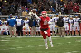 Naperville Central junior quarterback Conor Joyce throws a pass during Naperville Central's 34-20 loss to Simeon in a Class 8A state quarterfinal on Nov. 15, 2014.